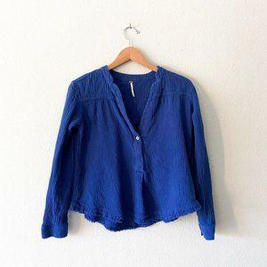 Free people 100% cotton blue raw hem long sleeve